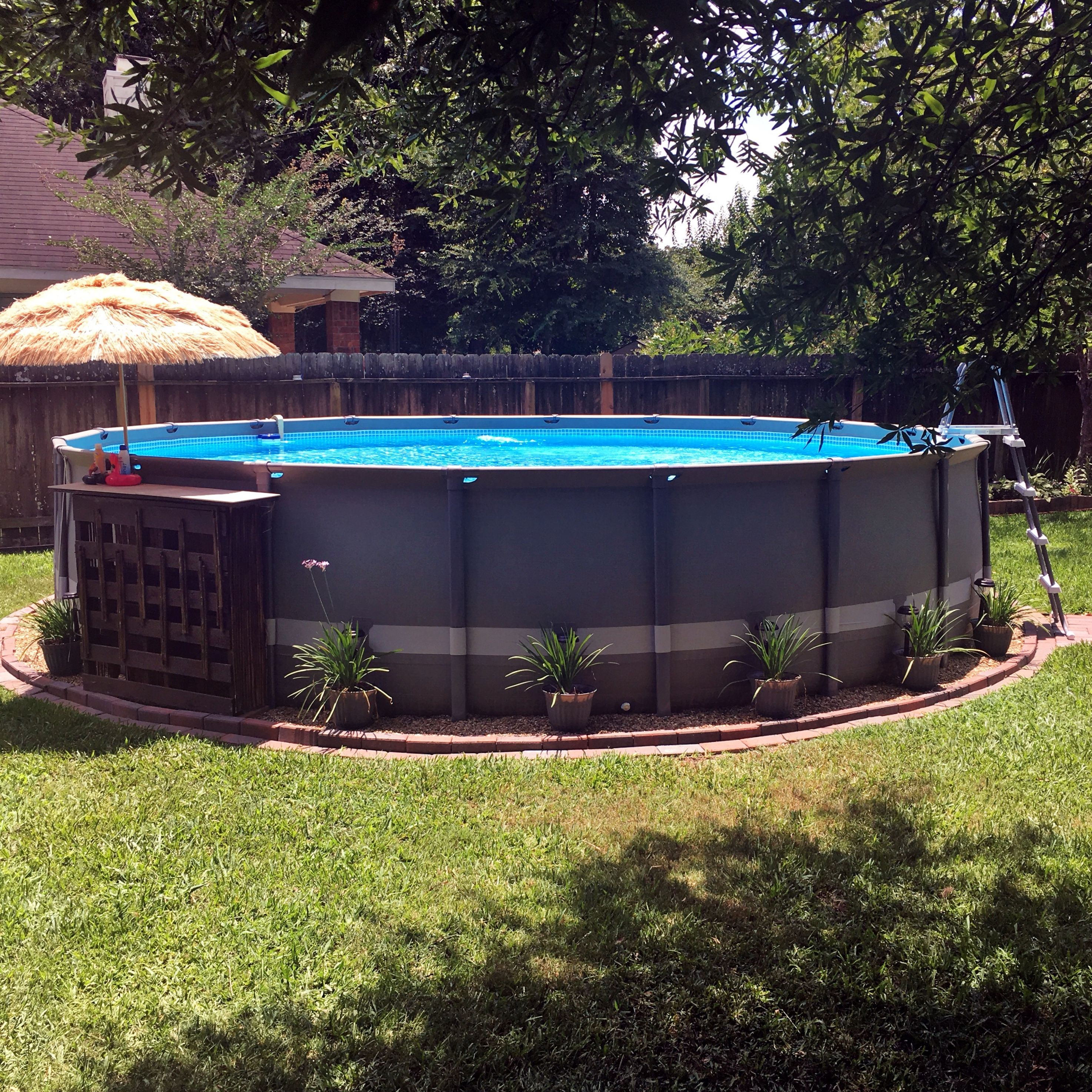 Our Intex Above Ground Pool With Brick Edging Pea Gravel Pots Of