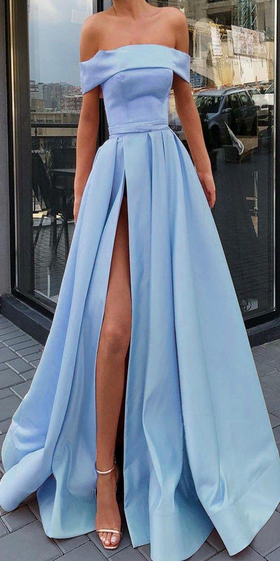 A Line Light Blue Off the Shoulder Prom Dresses with Slit LBQ0700