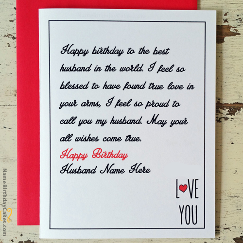 Write name on Love Birthday Card for Husband Happy Birthday – Birthday Greeting Cards with Name