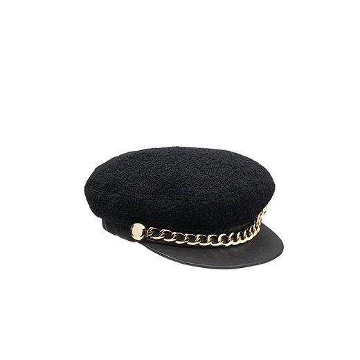 Eugenia Kim Black Wool Boucle Marine Cap with Gold Chain