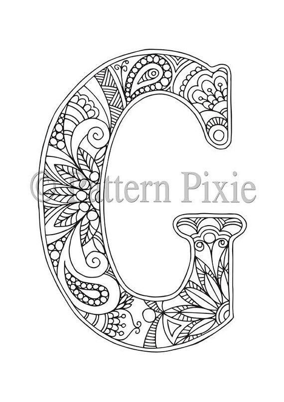 Adult Colouring Page Alphabet Letter G Products Adult Coloring