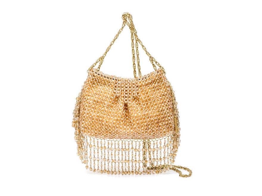 BRUNA - Bolsa cristal com franja em cristal, malha camurça interna e alça corrente. #Bolsa #Clutches