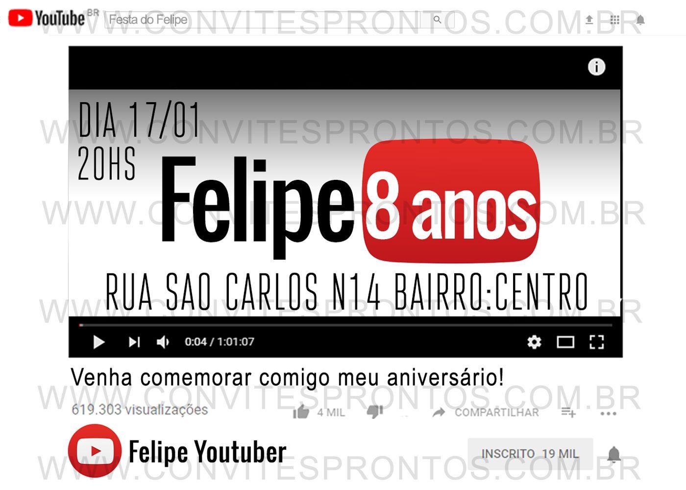 4a5c8fe46d CONVITE DE ANIVERSÁRIO YOUTUBE YOUTUBER TEMA