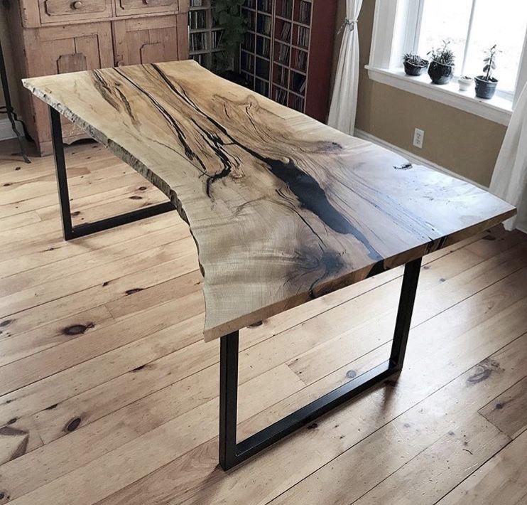 Live Edge Sugar Maple Dining Table Custom Handmade Furniture