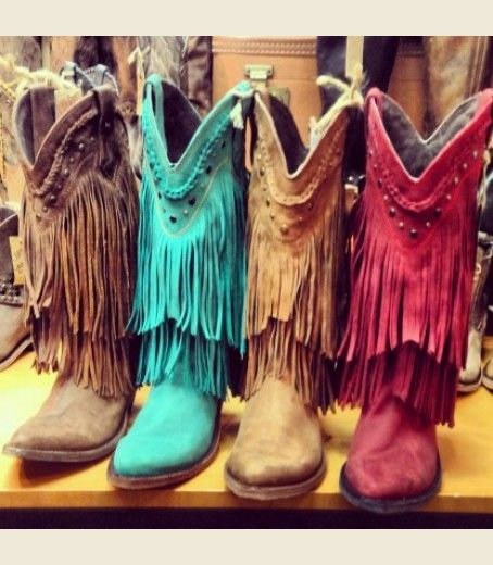 0fd49f71f30 the RaMBLeR frinGE boot- buckskin, red, turquoise or faded denim I ...