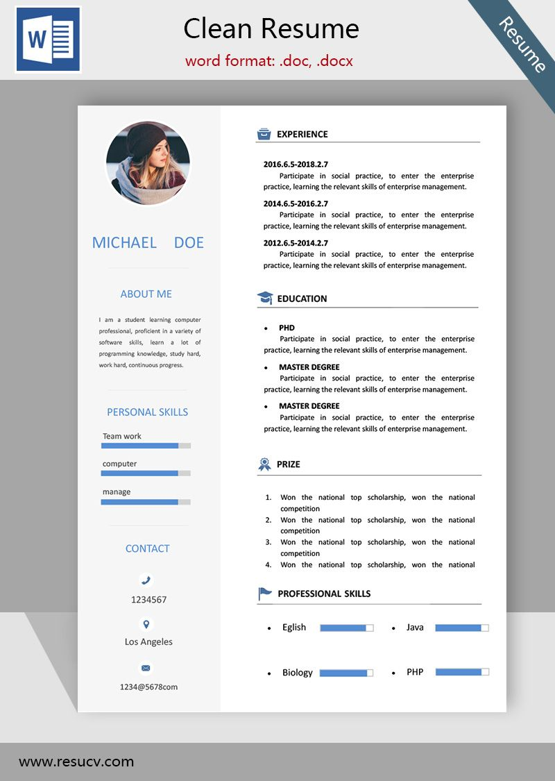 A Simple Clean Resume Template Cv Templates College Student ResumeBank Teller TemplatesIT Professional Sampledoctors Samples