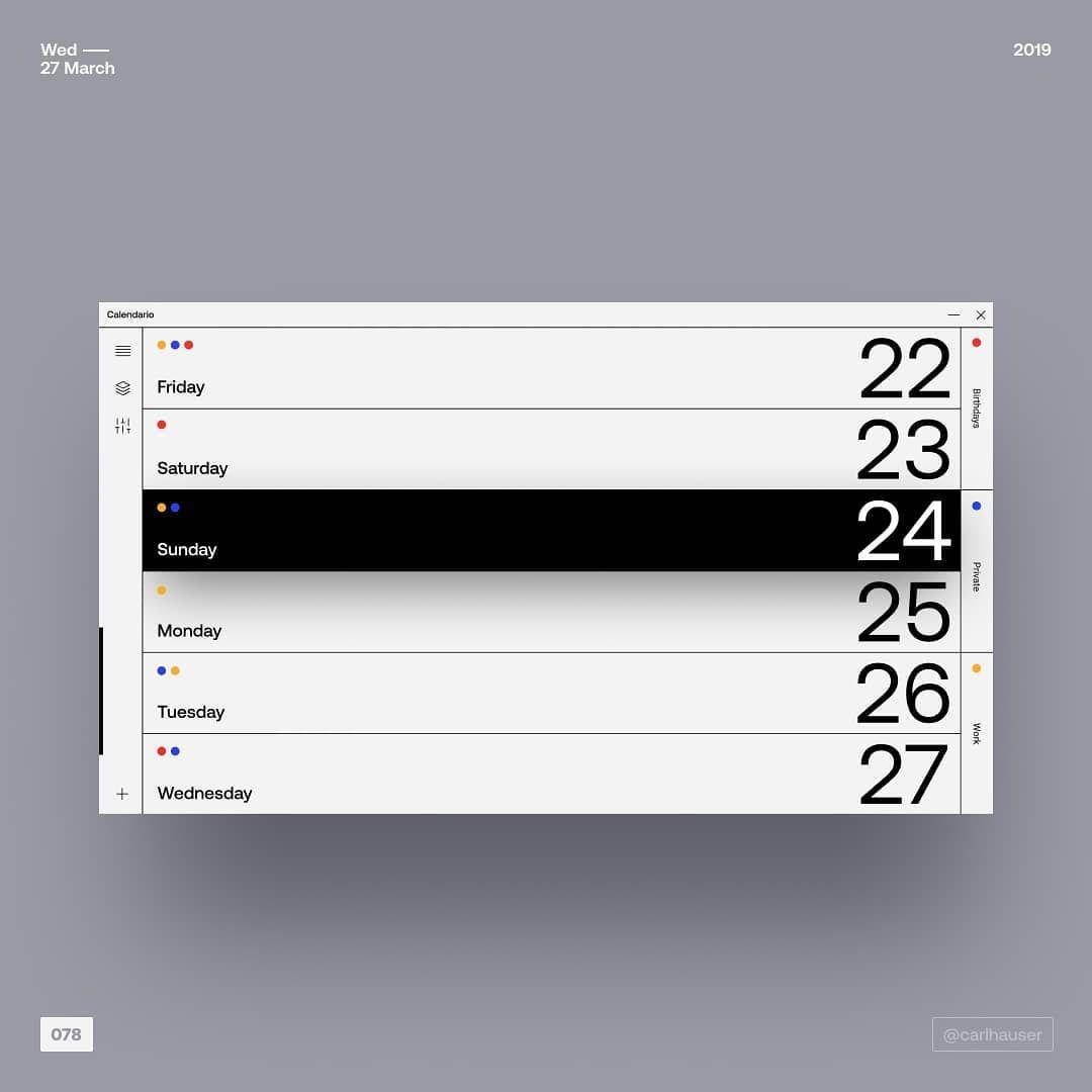"@carlhauser on Instagram: ""078 - simple calendar . . . #ui #ux #color #userinterface #uiux #design #uiinspiration #uiuxdesign #uidesign #inspiration #webdesign…"""