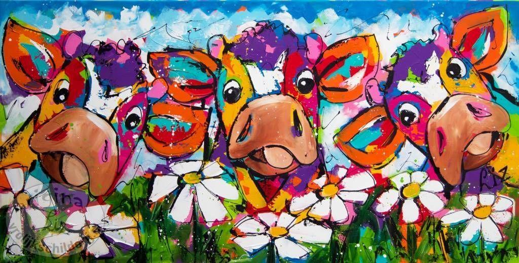 Vrolijk Schilderij, schilderij, Landschap, Koeien, Margrieten