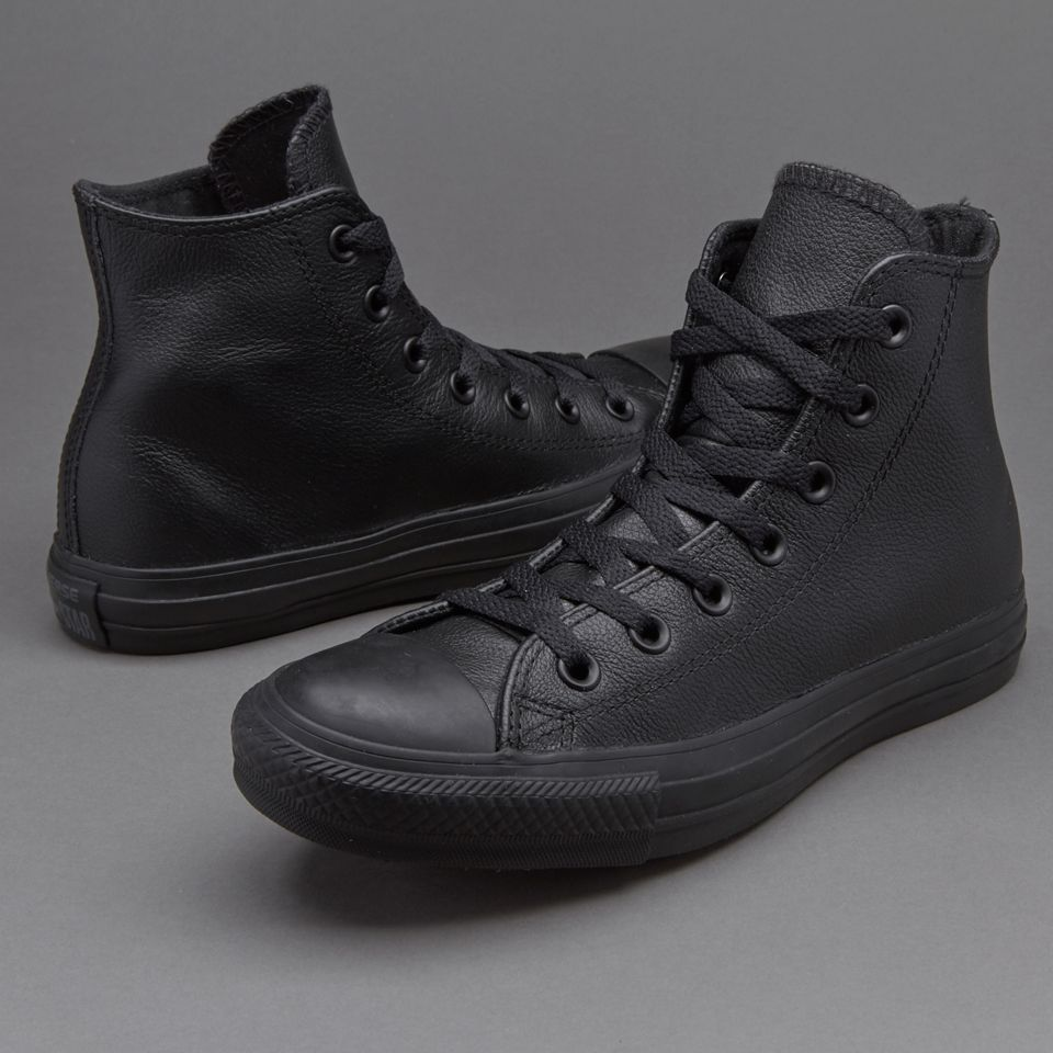 44ec30972396 Converse Chuck Taylor All Star Mono Leather Hi - Black Monochrome in ...