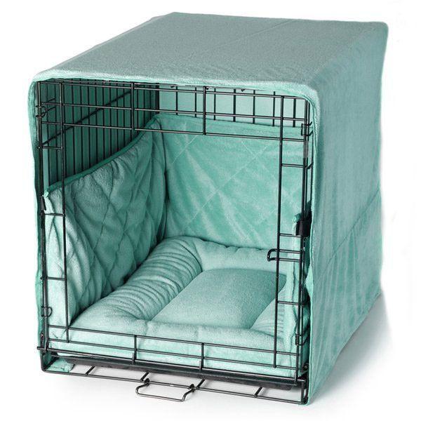 Plush Dog Crate Set W Cover Bed Bumper Pad Pets