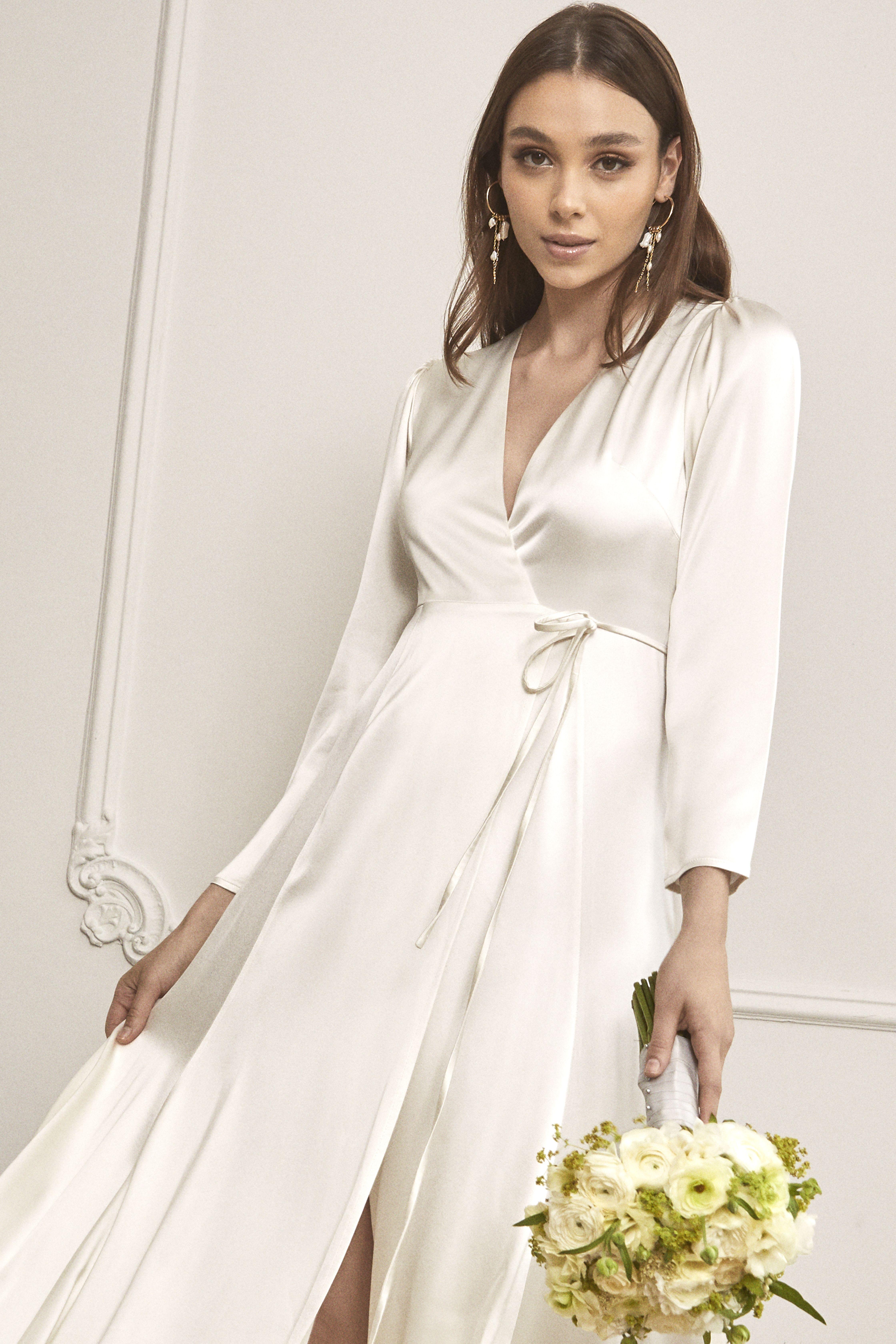 Olsen wedding dress Long sleeve wrap dress, Stunning