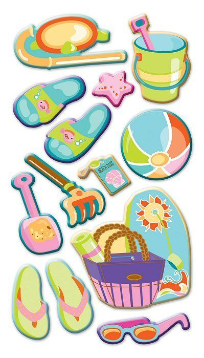 Let's Go To The Beach Puffy Stickers Sticko Stickers ...