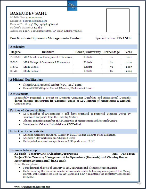 Sample of a Beautiful Resume format of MBA Fresher - Resume Formats ...