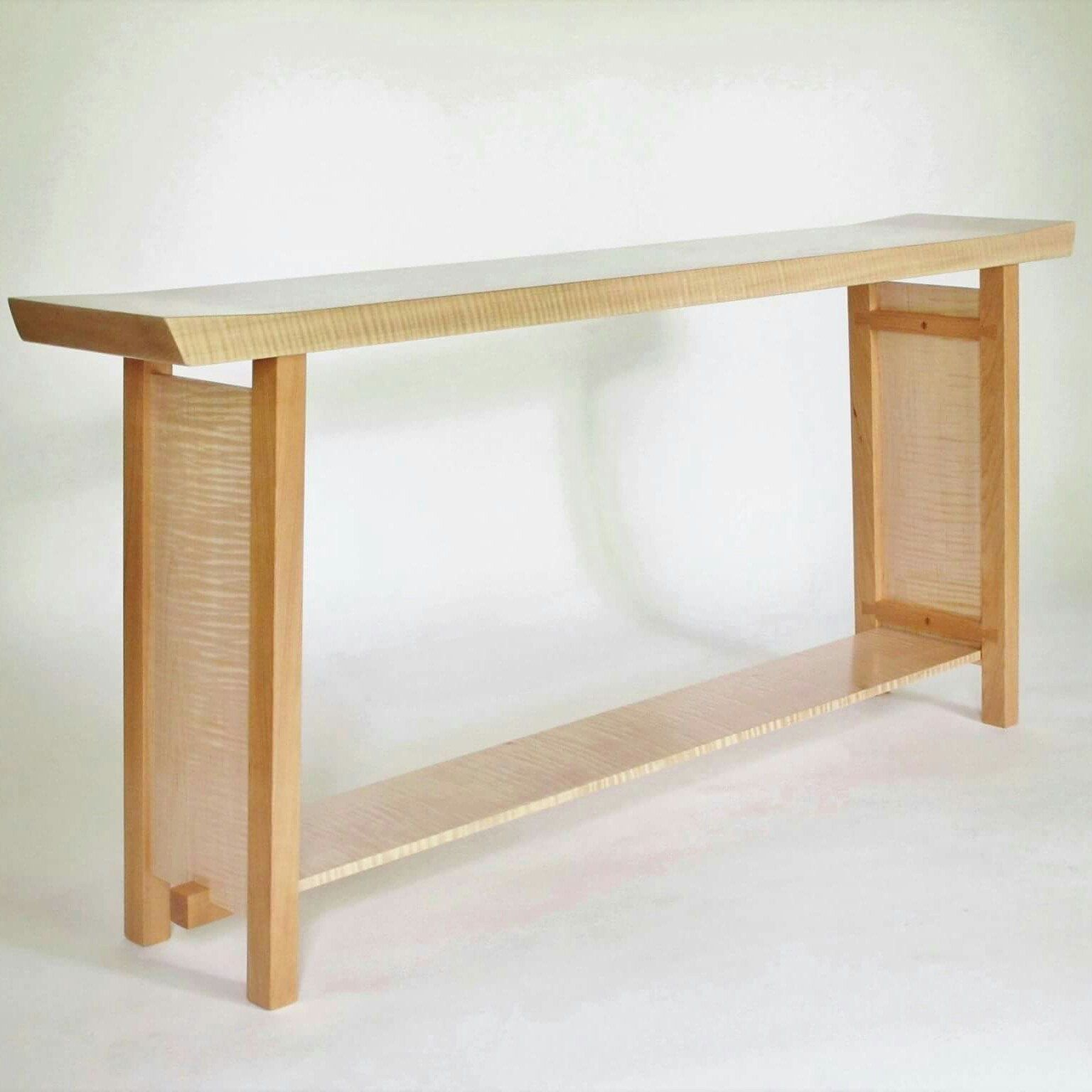 Long Narrow Shaped Console Table Handmade Solid Wood Table For