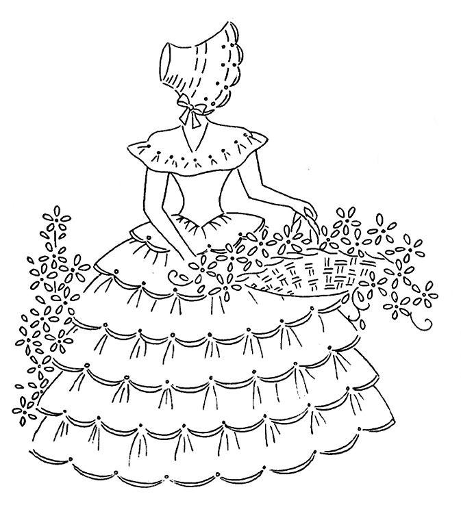 Bonnet Lady | damas | Pinterest | Bordado, Dibujo y Dibujos para bordar