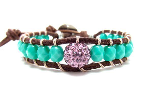 Leather Wrap Bracelet in Light Sapphire Faceted by AlexisLjewelry, $65.00