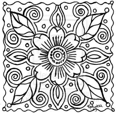 abstract flower doodle lineart for you to color by kathyahrensdeviantartcom on