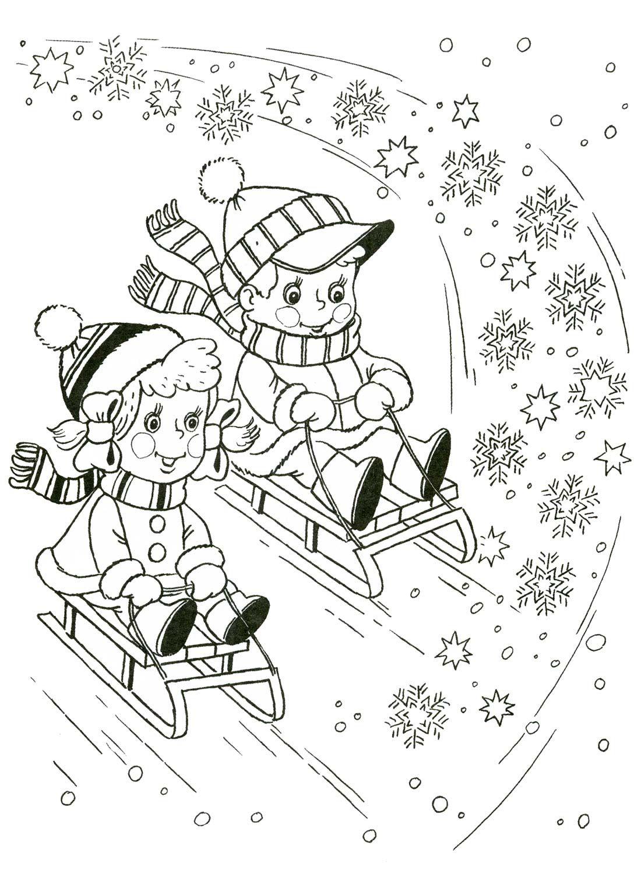 kleurplaat sleeën | Thema winter kleurplaten voor kleuters/ Winter ...