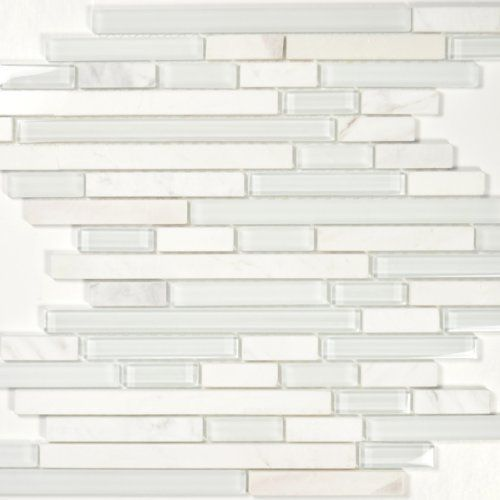 Glass tile and marble blend white stone linear series bianco by also crema marfil herringbone mosaic  polished