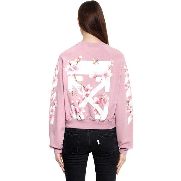 406bb4eab2a Off White Women Cherry Blossom Crop Cotton Sweatshirt ( 580) ❤ liked on  Polyvore featuring tops