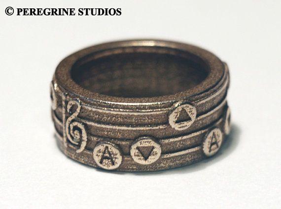 Legend of Zelda Songring - Sizes 6 - 13 (Stainless Steel) via Etsy