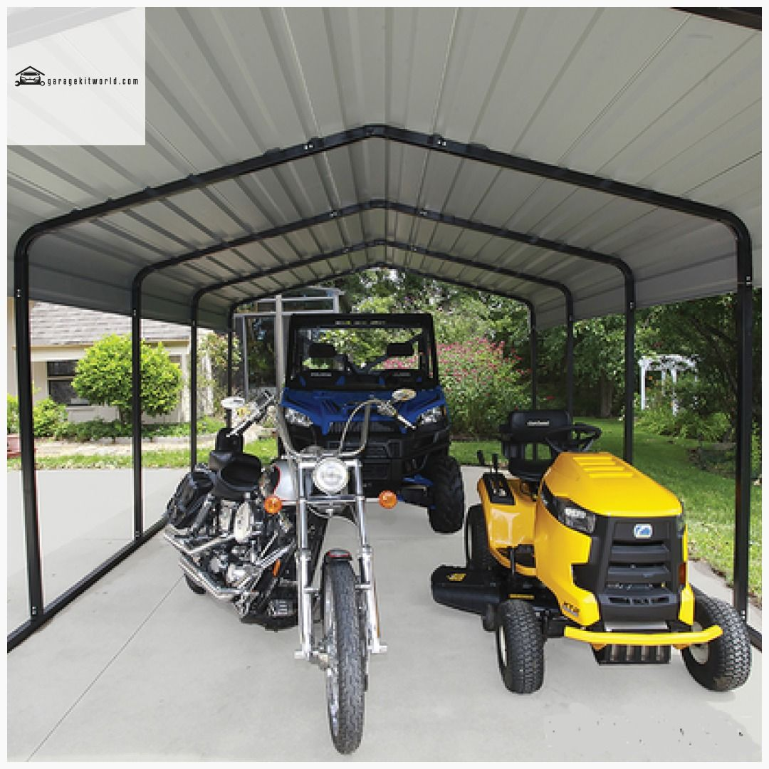 Arrow Galvanized Black/Eggshell 10 x 24 x 7 Steel Carport