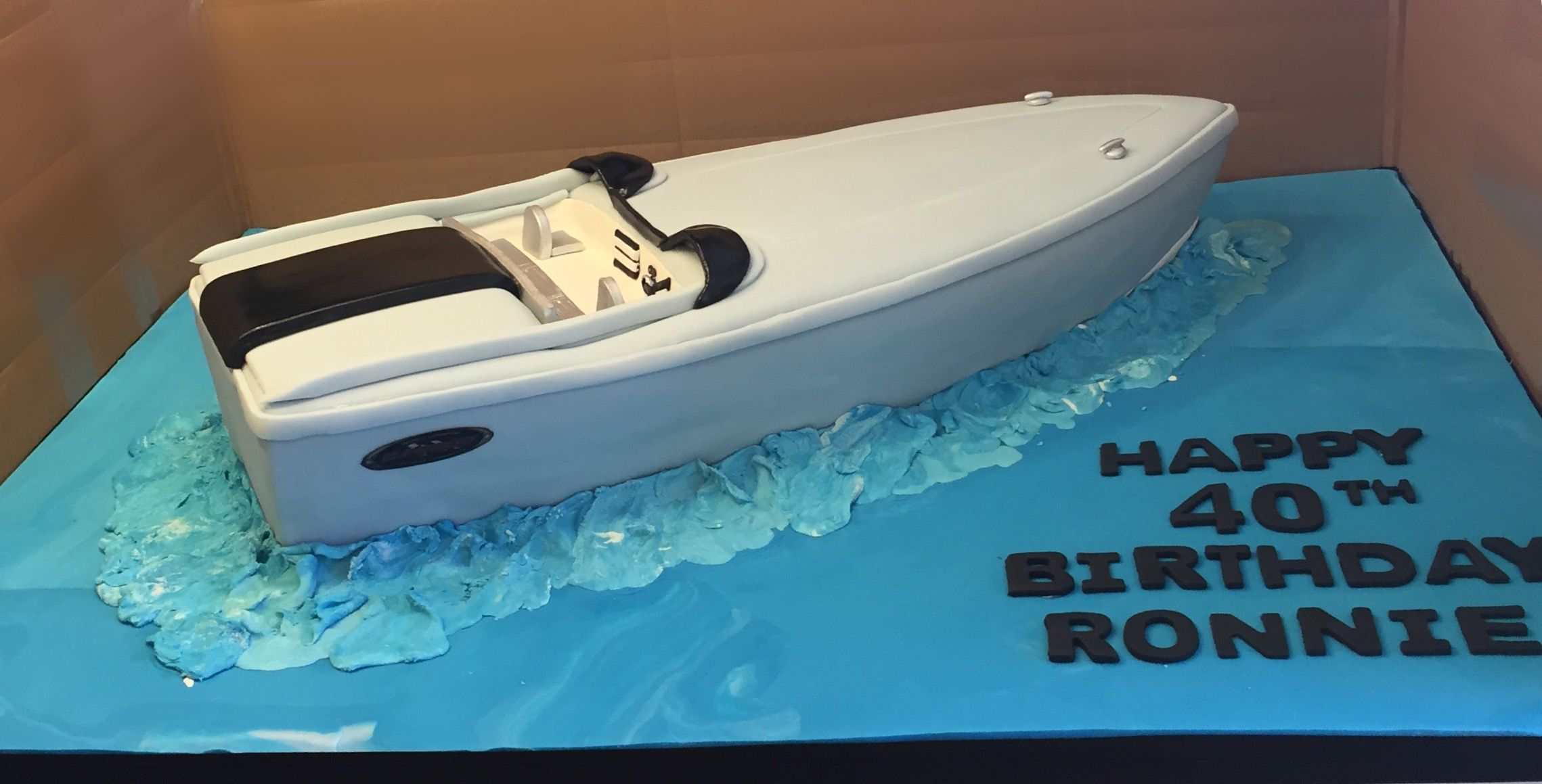 Wondrous Speed Boat 40Th Birthday Cake With Images Boat Cake 40Th Birthday Cards Printable Trancafe Filternl