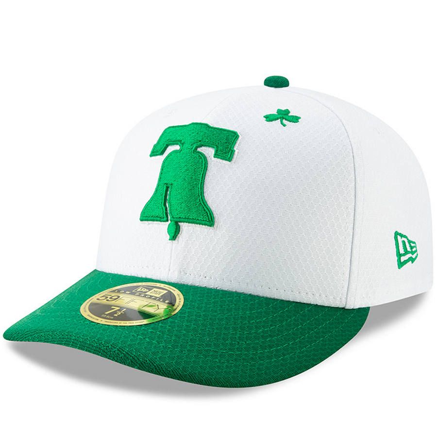 8cd36ec20f5 Men s Philadelphia Phillies New Era White Kelly Green 2019 St. Patrick s  Day On-Field Low Profile 59FIFTY Fitted Hat
