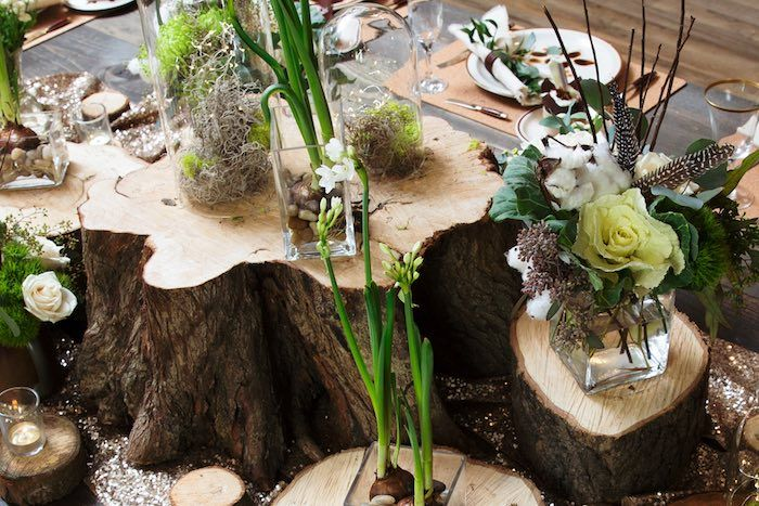 """Wood Stump + Floral Centerpieces from a """"My Little Cinnabun"""" Rustic Glam Baby…"""