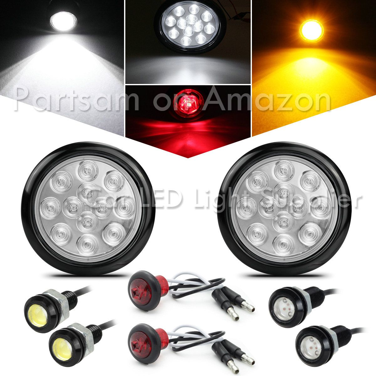 Partsam 12v 4 Round Led Truck Trailer Rv Stop Turn Tail Lights Chrome Grommets 12led 4 Round Le Truck And Trailer Car Parts And Accessories Car Led Lights