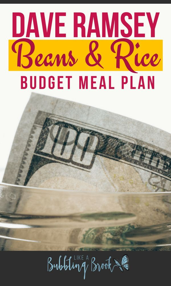 My Dave Ramsey Meal Plan For A Beans And Rice Budget Free PDF