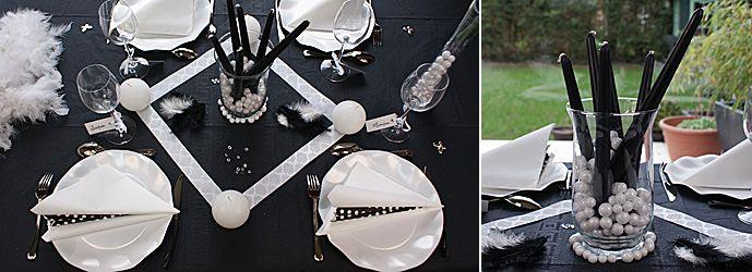 D coration de table en noir et blanc d co table noire et - Objet deco noir et blanc ...
