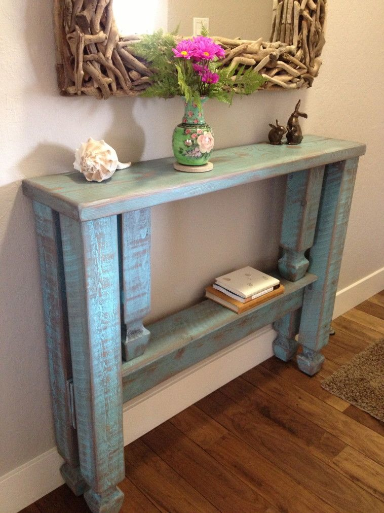 Rustic Narrow Foyer Table : Rustic blue stained wooden entryway table with single