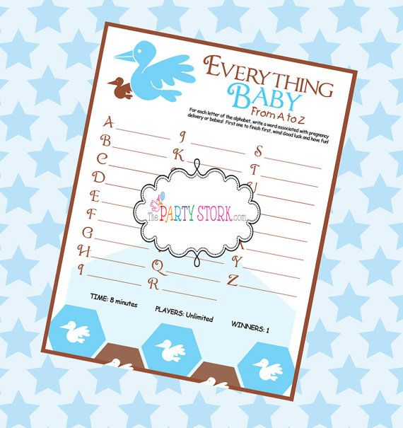 Everything A To Z Baby Shower Game Printable Game By The Party
