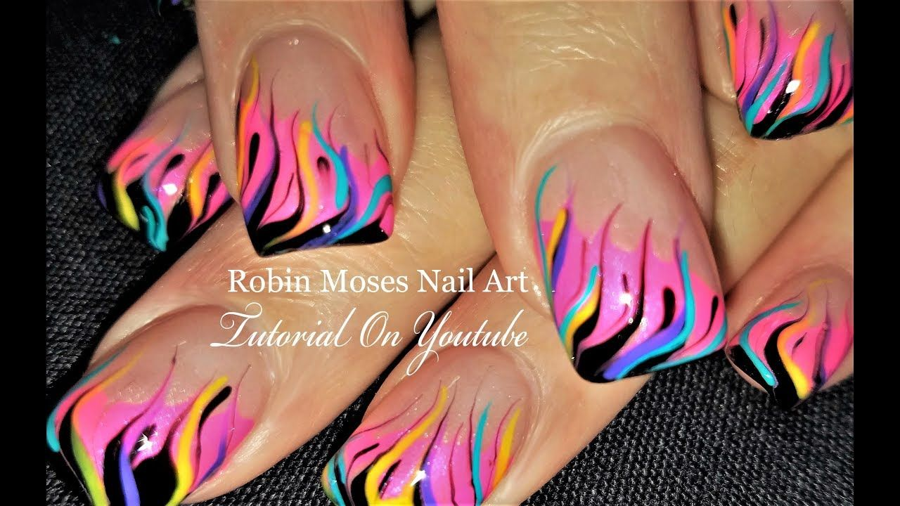 Neon Rainbow Flame Nails Diy Fire Nail Art Party Design Tutorial