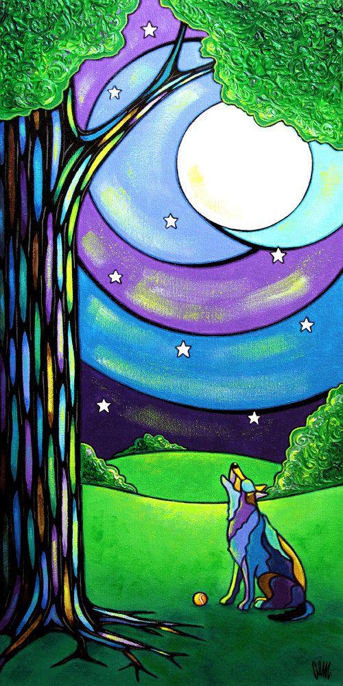 Howl High The Moon Dibujos Colores Frios Pintura De Arte Pinturas Abstractas