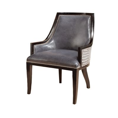 Black Vendome Finished Desk Chair, Granite Leather and Charcoal Fabric Upholstery