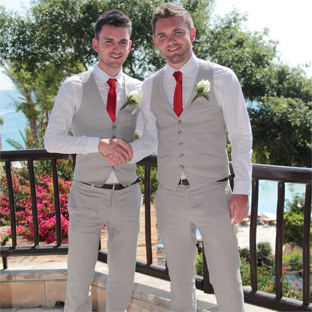 Light Wedding Dresses For Abroad: Andrew And His Best Man Wore Dapper, Light Grey, Linen