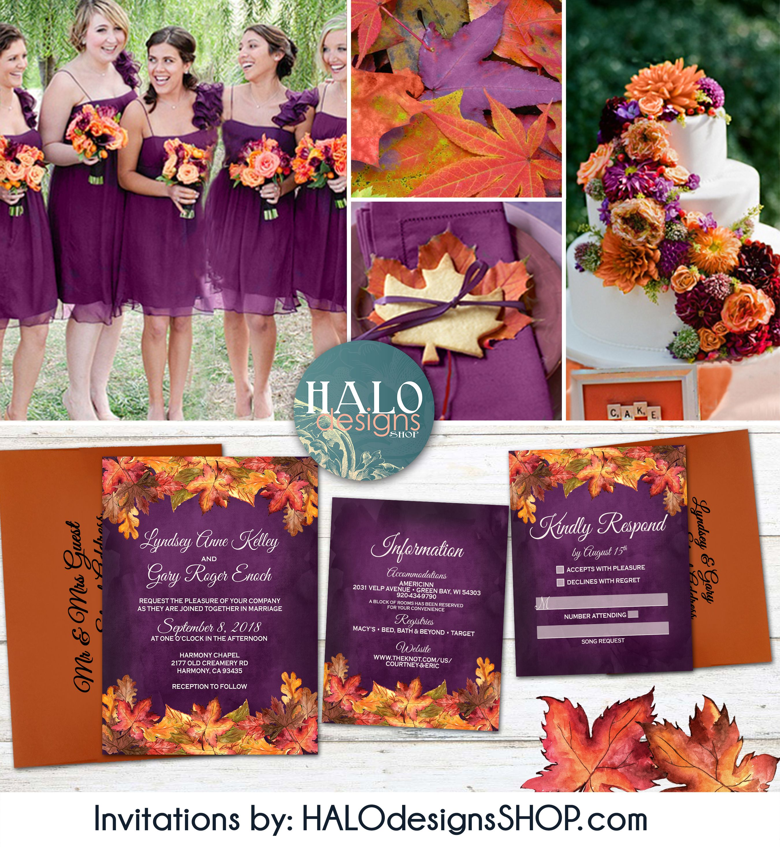 Rustic Fall Wedding Invitation Orange Plum Wedding Invitation