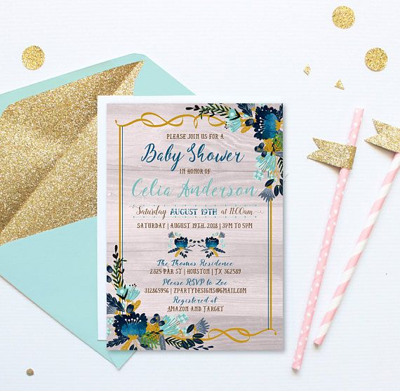 Baby Boy Shower Invitation Invites Vintage Flowers Blue Fl Wreath And Yellow