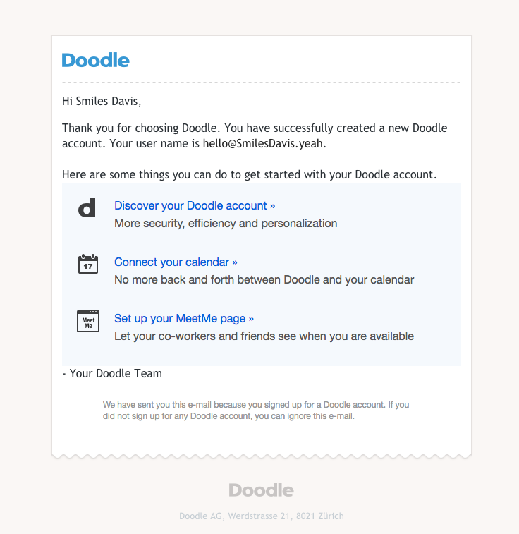 Doodle Sent This Email With The Subject Line Welcome To Your Doodle Account Read About This Email And Find More Welcome Emails At R You Doodle Welcome Emails