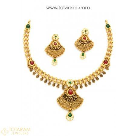 22k gold antique necklace sets antique necklace indian gold 22k gold antique necklace sets aloadofball Choice Image