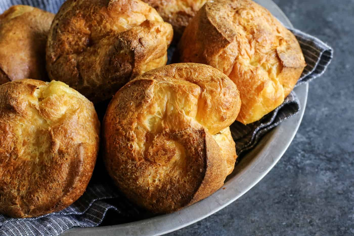 Make Popovers With Only Four Ingredients A Light Airy And Easy Roll Recipe In 2020 Popover Recipe Popovers Easy Rolls