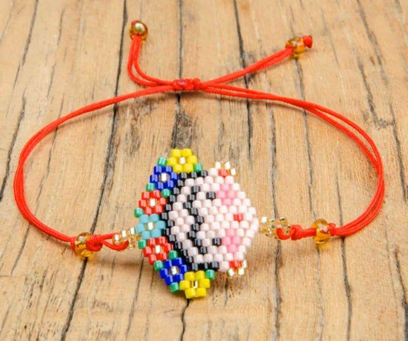 Miyuki beaded bracelet Frida Kahlo Bracelet Sets Bead lip bracelet Red Lips Bracelet