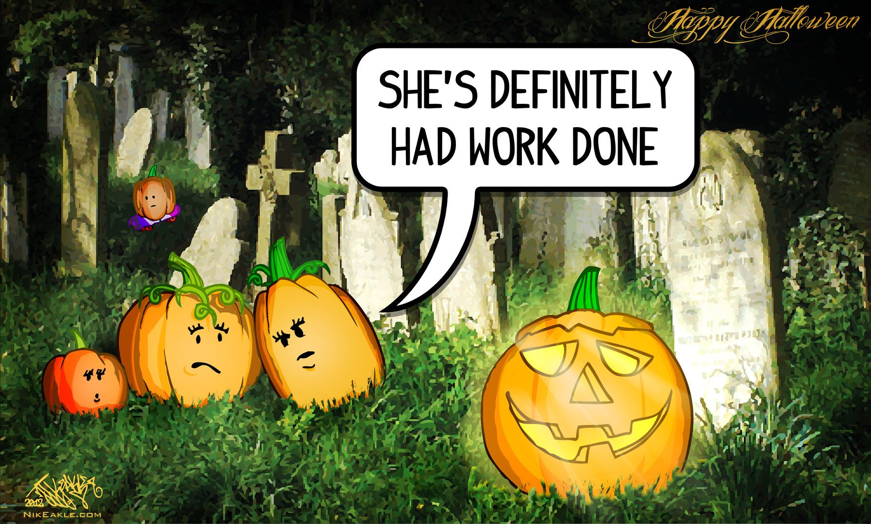 Gossiping Pumpkins. 2012. Cartoon drawings, Cartoon