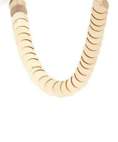 Look at this #zulilyfind! Gold Cleopatra Textured Necklace #zulilyfinds