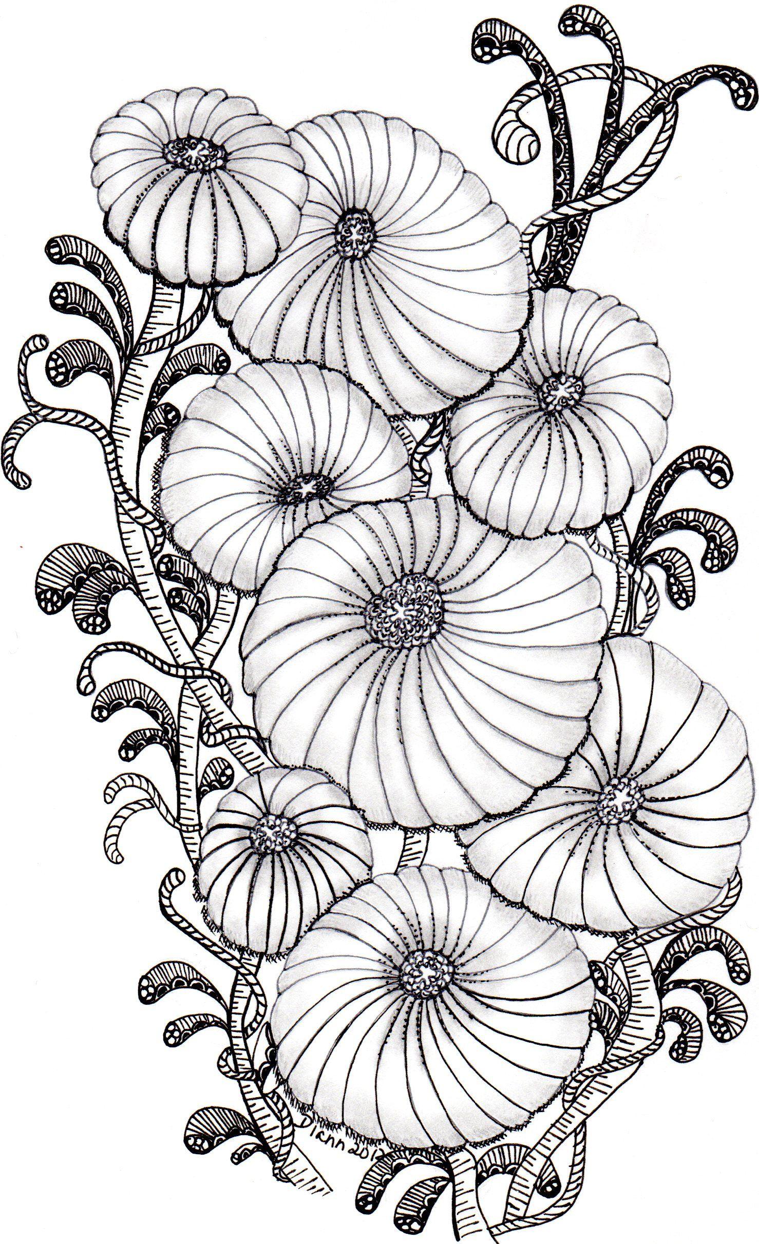 Coloriage de fleurs pour adultes. A vos crayons !   Adult Coloring ...