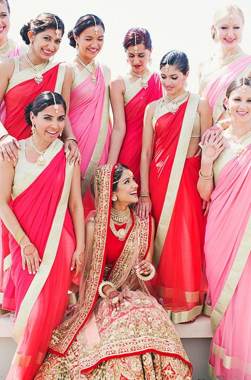 Pink and Red Bridesmaid Sarees | Melanie + Neeraj | Indian Wedding ...