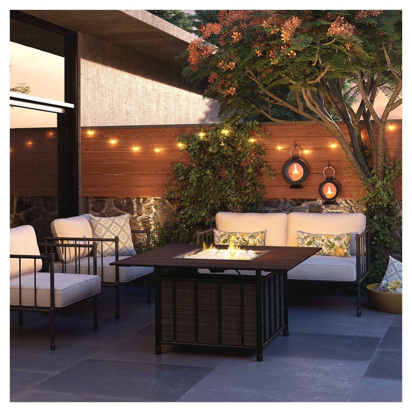 fernhill 4 pc metal patio fire chat set linen threshold