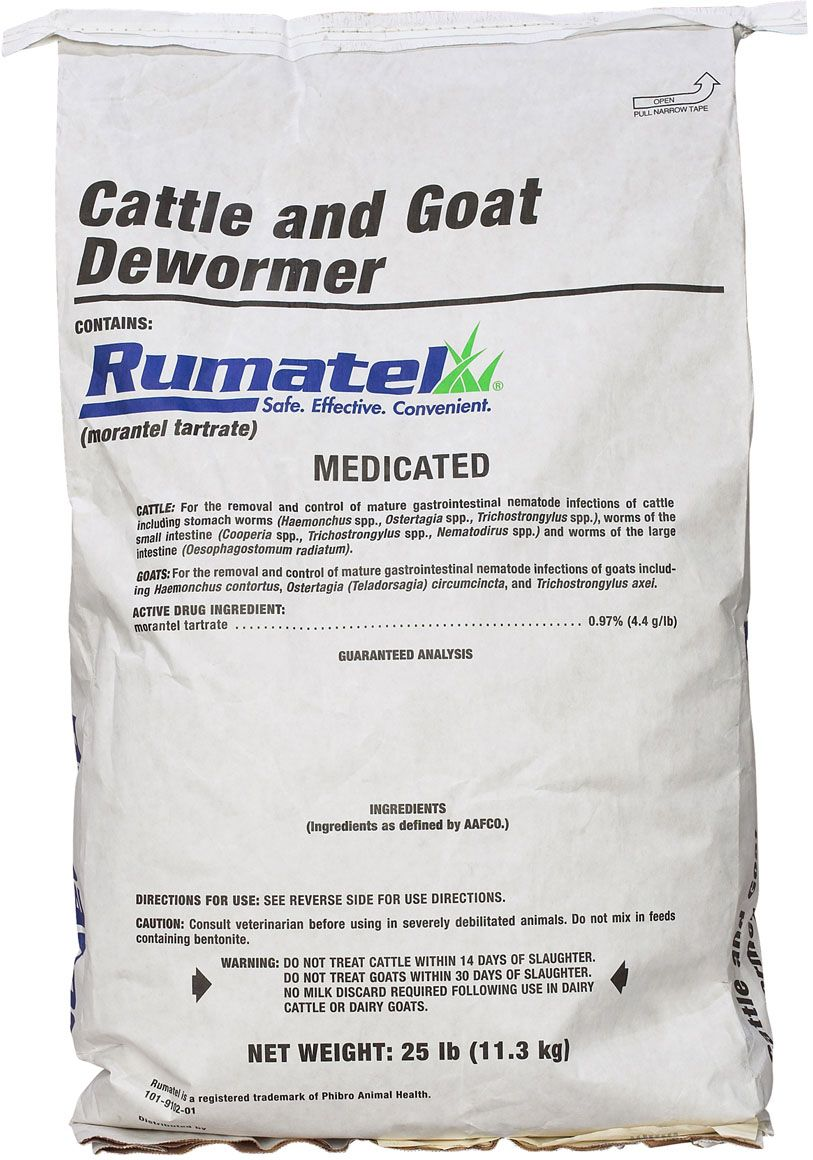 Rumatel Cattle and Goat Dewormer 25 lb Dairy goats